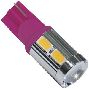 LED light bulbs T10 wedge-C2 pink without base 10 LED SMD 5730 LENS 6300K 12-30V (1pc.)