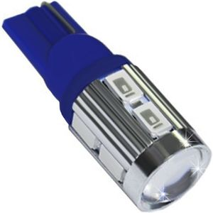 LED light bulbs T10 wedge-C2 blue without a base 10 LED SMD 5730 LENS 6300K 12-30V (1pc.)