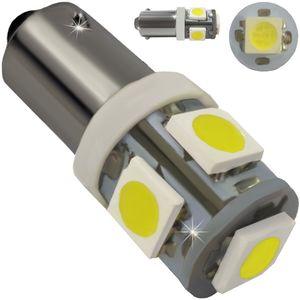 LED light bulbs T10 BA9S-C2 white with a base 5 LED SMD 5050, 6300K 12V Econom (1pc.) E3