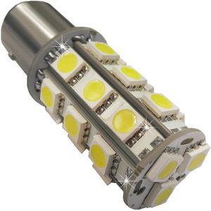LED light bulbs T25-C2 BAY15D red with base 1 contact. 18 LED SMD 5050 Strobe light 12V V2 (1pc)
