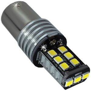 LED light bulbs T25-C BAY15D white with a base 2 contacts 15 LED 2835 SMD ECO IC, CAN 6300K 12V 1e